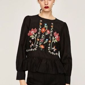 Zara black long sleeve embroidered top blouse